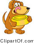 Clipart of a Brown Dog Mascot Cartoon Character Holding a Food Dish - Royalty Free by Toons4Biz