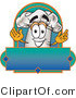 Clipart of a Chefs Hat Mascot Man over a Blank Label - Royalty Free by Toons4Biz
