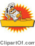 Clipart of a Chefs Hat Mascot Resting over a Blank Yellow Label - Royalty Free by Toons4Biz