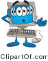 Clipart of a Confused Desktop - Royalty Free by Toons4Biz