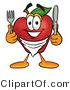 Clipart of a Hungry Red Apple Character Mascot Wearing a Napkin - Royalty Free by Toons4Biz