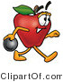 Clipart of a Red Apple Character Mascot Bowling - Royalty Free by Toons4Biz