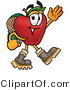 Clipart of a Red Apple Character Mascot Hiking - Royalty Free by Toons4Biz