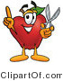 Clipart of a Red Apple Character Mascot Holding a Pair of Scissors - Royalty Free by Toons4Biz