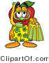 Clipart of a Red Apple Character Mascot in Green and Yellow Snorkel Gear - Royalty Free by Toons4Biz