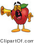 Clipart of a Red Apple Character Mascot Screaming into a Megaphone - Royalty Free by Toons4Biz
