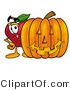 Clipart of a Red Apple Character Mascot Standing with a Carved Jackolantern - Royalty Free by Toons4Biz