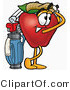 Clipart of a Red Apple Character Mascot Swinging His Golf Club - Royalty Free by Toons4Biz