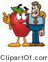 Clipart of a Red Apple Character Mascot Talking Nutrition - Royalty Free by Toons4Biz