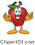 Clipart of a Red Apple Character Mascot with Open Arms - Royalty Free by Toons4Biz