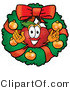 Clipart of a Red Apple Christmas Wreath - Royalty Free by Toons4Biz