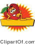 Clipart of a Tired Red Apple - Royalty Free by Toons4Biz