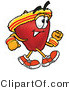 Clipart of ARed Apple Character Mascot Speed Walking - Royalty Free by Toons4Biz