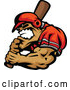 Illustration of a Aggressive Strong Baseball Player Mascot Holding a Bat by Chromaco