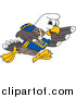 Illustration of a Bald Eagle Character Playing Football by Toons4Biz