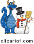 Illustration of a Blue Dragon Mascot with a Snowman by Toons4Biz