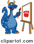 Illustration of a Blue Dragon School Mascot Painting a Paw Print on an Easel by Toons4Biz