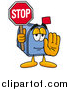Illustration of a Blue Mailbox Mascot Holding a Stop Sign by Toons4Biz