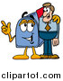 Illustration of a Blue Mailbox Mascot Talking to a Business Man by Toons4Biz