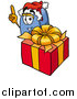 Illustration of a Blue Postal Mailbox Mascot Standing by a Christmas Present by Toons4Biz