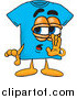 Illustration of a Blue Short Sleeved T-Shirt Mascot Whispering and Gossiping by Toons4Biz