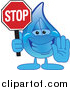Illustration of a Blue Water Drop Character Holding a Stop Sign by Toons4Biz