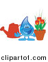 Illustration of a Blue Water Droplet Mascot with a Watering Can and Tulips by Toons4Biz