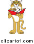 Illustration of a Bobcat Mascot Standing and Reading by Toons4Biz
