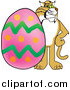Illustration of a Bobcat Mascot with an Easter Egg by Toons4Biz
