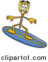 Illustration of a Broom Mascot Surfer by Toons4Biz