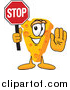 Illustration of a Cheese Mascot Holding a Stop Sign by Toons4Biz