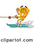 Illustration of a Cheese Mascot Water Skiing and Waving by Toons4Biz