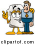 Illustration of a Chefs Hat Mascot Talking to a White Man by Toons4Biz
