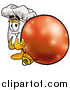 Illustration of a Chefs Hat Mascot with a Christmas Bauble by Toons4Biz
