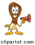 Illustration of a Chicken Drumstick Mascot Holding a Megaphone by Toons4Biz
