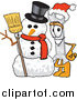 Illustration of a Christmas Wrench Mascot with a Snowman by Toons4Biz