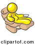 Illustration of a Chubby Lazy Yellow Man with a Beer Belly, Sitting in a Recliner Chair with His Feet up by Leo Blanchette