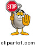 Illustration of a Computer Mouse Mascot Holding a Stop Sign by Toons4Biz