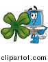 Illustration of a Desktop Computer Mascot with a Shamrock by Toons4Biz