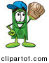 Illustration of a Dollar Bill Mascot Catching a Baseball by Toons4Biz
