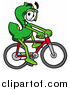 Illustration of a Dollar Sign Mascot Riding a Bicycle by Toons4Biz