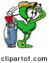 Illustration of a Dollar Sign Mascot Swinging His Golf Club While Golfing by Toons4Biz