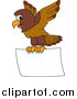 Illustration of a Falcon Mascot Flying a Blank Sign by Toons4Biz