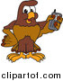 Illustration of a Falcon Mascot Holding a Cell Phone by Toons4Biz