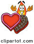 Illustration of a Flame Mascot and Valentines Day Chocolate Candies by Toons4Biz