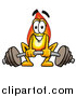 Illustration of a Flame Mascot Working out and Lifting a Heavy Barbell by Toons4Biz