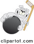 Illustration of a Gray Bulldog Mascot Grabbing a Hockey Puck by Toons4Biz
