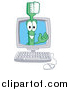 Illustration of a Green Toothbrush Mascot in a Computer by Toons4Biz