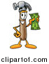 Illustration of a Hammer Mascot Holding a Dollar Bill by Toons4Biz