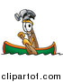Illustration of a Hammer Mascot Rowing a Boat by Toons4Biz